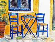 Greece Painting Originals - Table for Two by Maria Barry