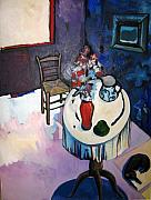 Interior Still Life Painting Metal Prints - Table jug and vase Metal Print by Rebecca Williams