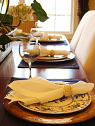 Wine Holder Metal Prints - Table Set for Dinner Metal Print by Jeremy Allen