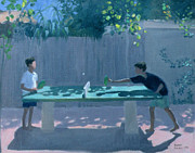 Back Yard Paintings - Table Tennis by Andrew Macara