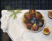 White Cloth Prints - Table with Figs Print by Carol Sweetwood