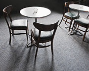 Empty Chairs Posters - Tables and Chairs in a Cafe Poster by Thom Gourley/Flatbread Images, LLC