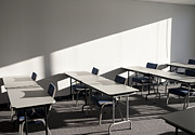 Empty Chairs Prints - Tables and Chairs in a College Classroom Print by Will & Deni McIntyre