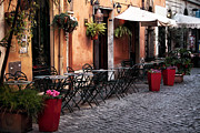 Food And Beverage Photos Prints - Tables in the Alley Print by John Rizzuto