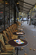 Empty Chairs Posters - Tables outside a Paris bistro on an autumn day Poster by Louise Heusinkveld