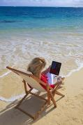 I Read Posters - Tablet on Beach Poster by Tomas del Amo