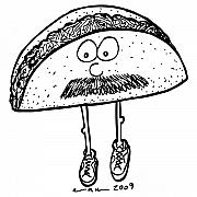 Comic Drawings - Taco Mustache by Karl Addison