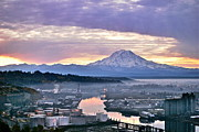 Lightscapes Photography Framed Prints - Tacoma Dawn Framed Print by Sean Griffin