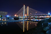 Glass Reflecting Framed Prints - Tacoma Hwy 509 Bridge Up in Lights 2 Framed Print by Rob Green