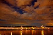 Moonlit Night Photos - Tacoma Waterfront by Robby Green