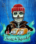 Skeletons Posters - Tacos de Pescado Poster by Heather Calderon