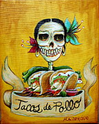 Skeletons Posters - Tacos de Pollo Poster by Heather Calderon