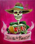 Skeletons Posters - Tacos de Puerco Poster by Heather Calderon