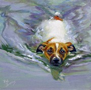 Dog Swimming Paintings - Tadpole by Pat Burns