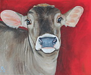 Calf Paintings - Taffy by Laura Carey
