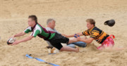 Rugby Union Metal Prints - Tag Beach Rugby Competition Metal Print by David  Hollingworth