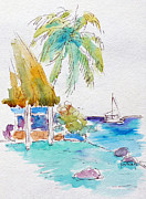 Tropics Paintings - Tahiti Lotus Pool by Pat Katz