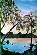 Boat Drawings Prints - Tahiti Print by Mindy Newman
