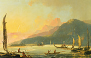Mountainous Painting Posters - Tahitian War Galleys in Matavai Bay - Tahiti Poster by William Hodges