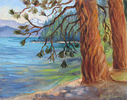 Point Park Painting Posters - Tahoe Light Sugar Pine Point State Park Poster by Karin  Leonard
