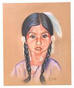 Shawl Paintings - Tahoe Paiute Girl by Margaret A Clark Price