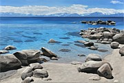 Abstract Realism Paintings - Tahoe Shoreline by Carina Mascarelli