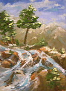 Snowy Stream Paintings - Tahoe Spring Break by Patsy Walton