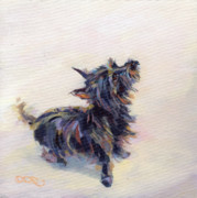 Terrier Art Painting Metal Prints - Tail Wagging Fury Metal Print by Kimberly Santini