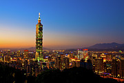 Exterior Framed Prints - Taipei 101 At Dusk Framed Print by Jung-Pang Wu