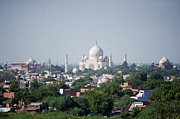 Onion Dome Framed Prints - Taj Mahal And City Of Agra Framed Print by Rebecca Yale