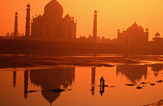 Yamuna River Posters - Taj Mahal And Reflection In Yamuna River Poster by Paolo Cordelli