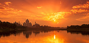 Yamuna River Posters - Taj Mahal And Yamuna River At Sunset Poster by Adrian Pope