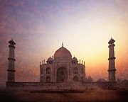 Illustrative Photo Framed Prints - Taj Mahal at sunrise Framed Print by Karel Noppe