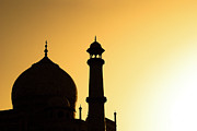Minaret Posters - Taj Mahal At Sunset Poster by Kokkai Ng