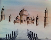 Cities Paintings - Taj Mahal by Eva Ason
