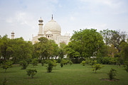 Place Of Burial Prints - Taj Mahal From a Grass lawn Print by Bryan Mullennix