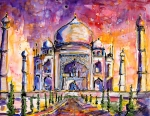 India Painting Framed Prints - Taj Mahal Framed Print by Ginette Fine Art LLC Ginette Callaway