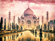 India Painting Framed Prints - Taj Mahal Framed Print by Mo T