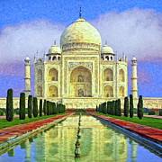 Wonder Of The World Paintings - Taj Mahal Morning by Dominic Piperata