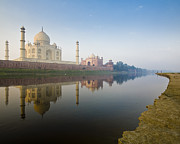 Yamuna River Posters - Taj Mahal On The Yamuna River Bank Poster by Ashok Sinha