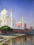 Moonlight Posters - Taj Mahal Poster by Vasili Vasilievich Vereshchagin