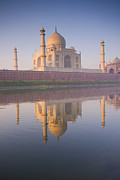 Yamuna River Posters - Taj Mahal With Reflection In The Yamuna River Poster by Ben Pipe Photography