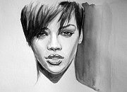 Rihanna Paintings - Take a bow by Bakhtiar Umataliev