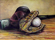 Baseball Glove Painting Metal Prints - Take Me Out to the Ball Game Metal Print by Deborah Smith