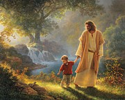Walking Metal Prints - Take My Hand Metal Print by Greg Olsen
