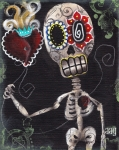 Skeleton Paintings - Take my Heart by  Abril Andrade Griffith