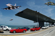 Ringling Bridge Posters - Take Off Poster by Larry Mulvehill