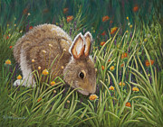 Bunny Paintings - Take Time to Smell the Flowers by Dee Carpenter
