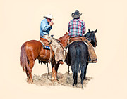 Cowboys Digital Art Metal Prints - Taking a Break Metal Print by Dewain Maney