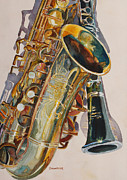Saxophones Framed Prints - Taking a Shine to Each Other Framed Print by Jenny Armitage